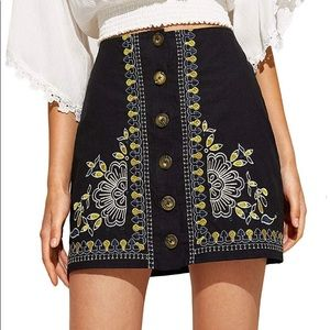 Urban Outfitters black embroidered skirt